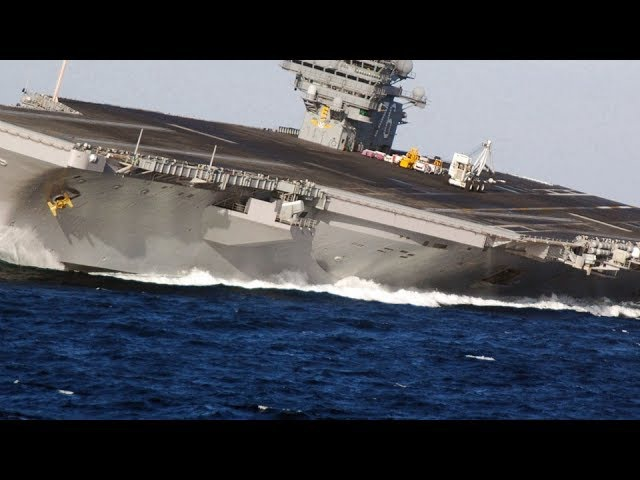 HIGH SPEED MANEUVERS US Nimitz class SUPERCARRIER in a series of EXTREME RUDDER TESTS