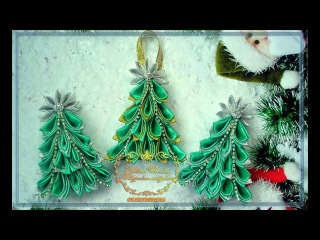 Елочка канзаши. Магнит-игрушка. МК.--- Christmas tree of Kanzash. Magnet-toy. MK.