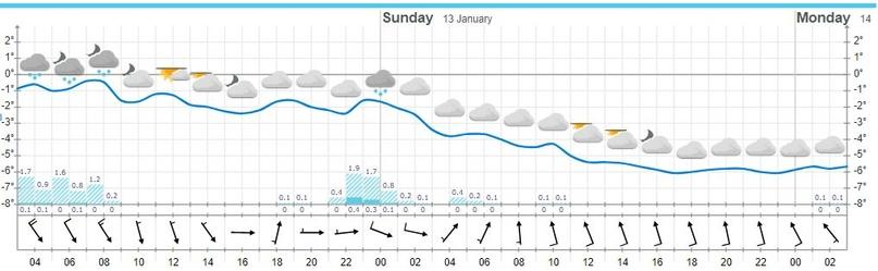 Двухсуточный прогноз с сайта «yr.no». Синяя сплошная линия отражает температуру, синие прямоугольники (в том числе со штриховкой) — осадки, стрелки показывают скорость и направление ветра
