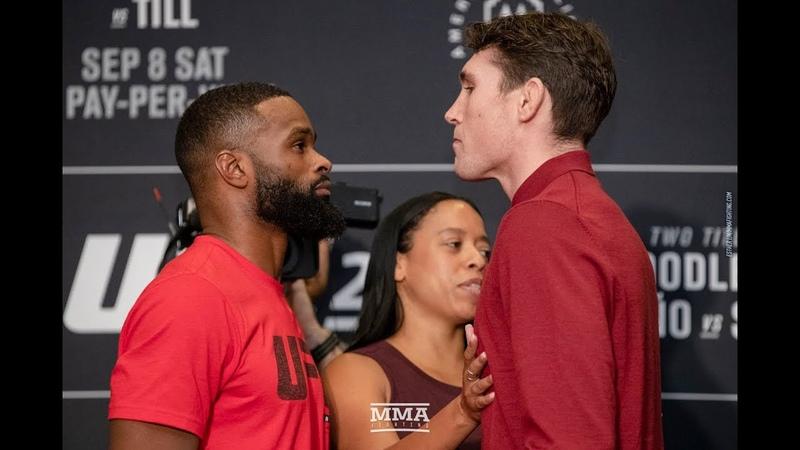 UFC 228: Tyron Woodley vs. Darren Till Media Day Staredown MMA Fighting ufc 228: tyron woodley vs. darren till media day stare