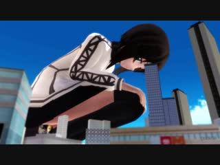 [mmd giantess 巨大娘]3000倍巨大娘の街遊び_giantess crush the city