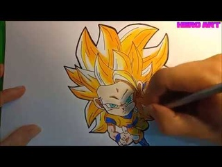 hướng dẫn vẽ GOKU chibi ssj3 đẹp mà đơn giản, vẽ không tẩy xóa