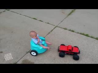 Baby rides remote control car - pimp my ride