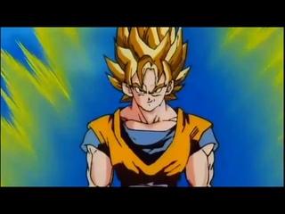 Goku se transformando em Super Sayajin 3 pela primeira vez. Dublado