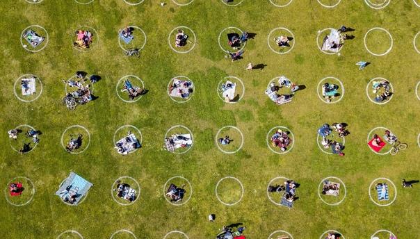 Круги для соблюдения социальной дистанции, нарисованные на газоне парка миссии Долорес в Сан-Франциско, США