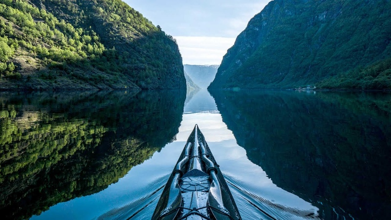 First Person POV Of Kayaking In Norway