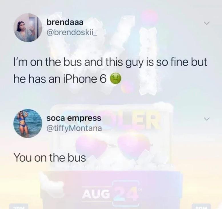 Еду в автобусе и этот парень такой клевый... но у него iPhone 6 =(