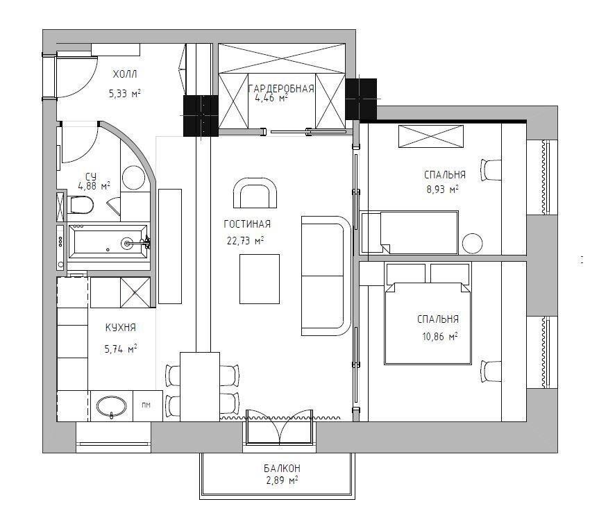 Грамотно спланированная квартира в сталинке.
