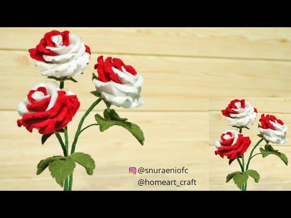 Two Tone Felt Roses - DIY How to Make Rose Felt Flowers || S Nuraeni