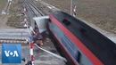 CCTV Footage Shows Train Smashing Into Truck at Crossing in Turkey