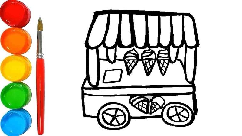 Cara Menggambar dan Mewarnai Mainan Gerobak Es Krim Bong Learning TV