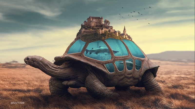 Tortoise Surrealism Underwater Photo Manipulation Photoshop Tutorial