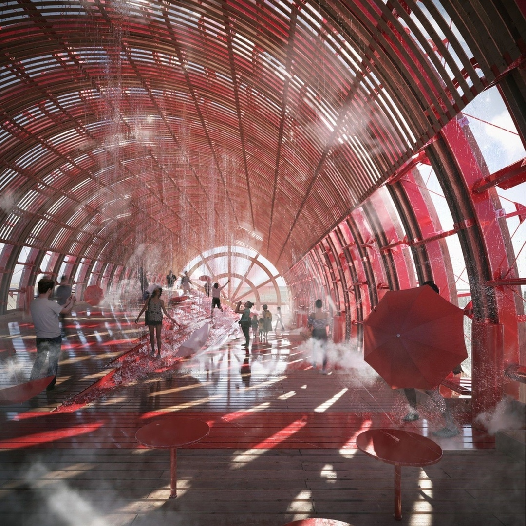 Austria's EXPO 2020 Pavilion: Giant Watermill by Penda and Smartvoll