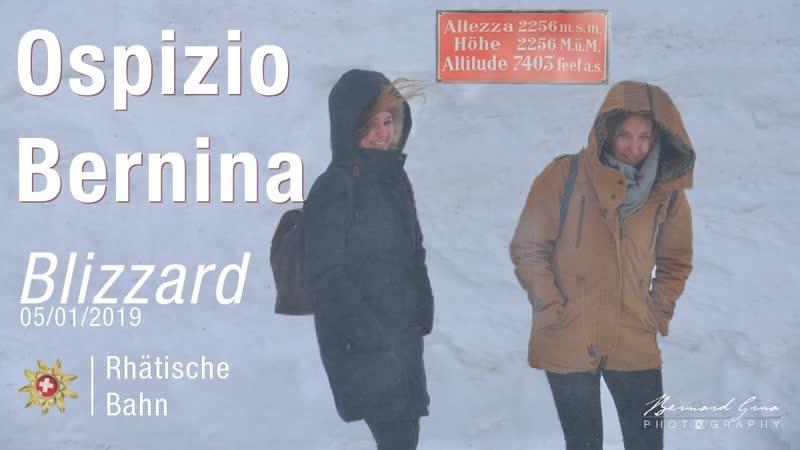 Blizzard au col de la Bernina 2 253 m Rhätische Bahn janvier 2019