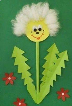 Аппликация одуванчик Такую веселую весеннюю аппликацию одуванчика можно сделать с детьми 5-7 лет.Вырезаем круг из желтой бумаги, наклеиваем его на лист основу. Вокруг круга наклеиваем кусочки