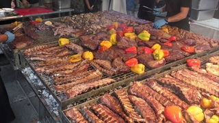 Huge Italy Street Food Festival. Grilled Meat, Pasta, Sweets and more Great Italian Foods