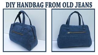 DIY JEANS PURSE BAG ZIPPER HANDBAG FROM OLD JEANS/BOLSA DIY/COUDRE UN SAC/Bolsa de bricolaje