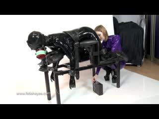 Latex girl electro play in gas mask
