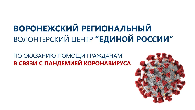 В Воронежской области открылся волонтерский центр «Единой России» по оказанию помощи гражданам в связи с коронавирусной инфекцией.