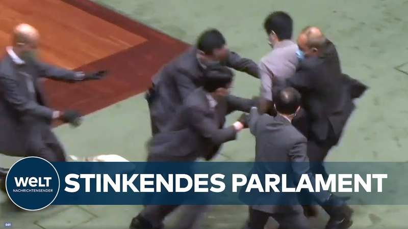 HAUE IN HONGKONG Fiese Stinkbomben Attacke legt Parlament lahm