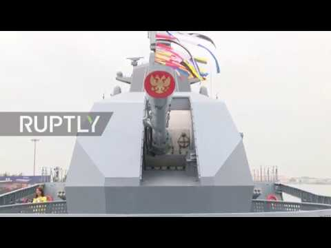 China Russian frigate Admiral Gorshkov attends PLA navy's 70th anniversary celebrations in Qingdao