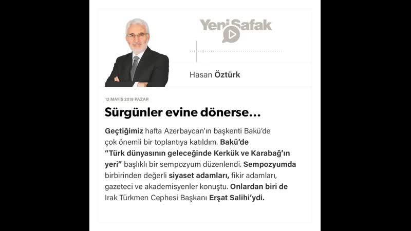 Hasan Öztürk Sürgünler evine dönerse… 12 05 2019