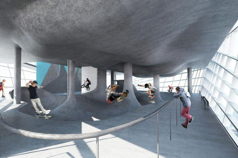 british studio guy hollaway architects has revealed plans for a multi-storey skatepark – believed to be the first of its kind on the world.