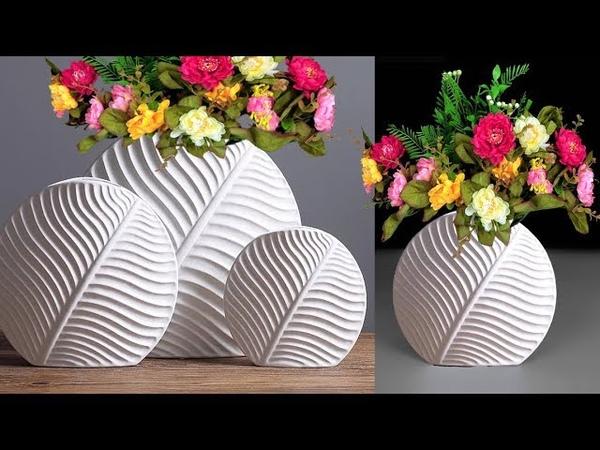 Cement Flower Vase Leaf Flower Vase Decorative Showpiece For Home Decor