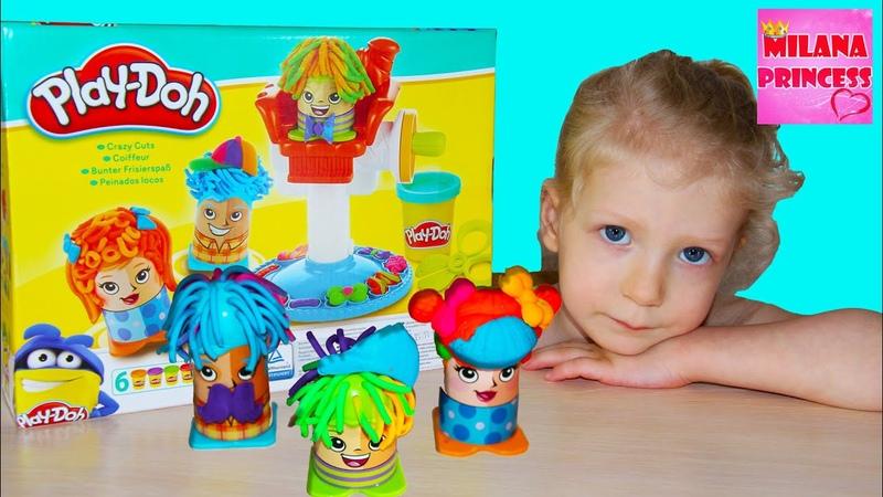 Детская парикмахерская с пластилином плей до Сумасшедшие прически Play Doh Crazy Cuts