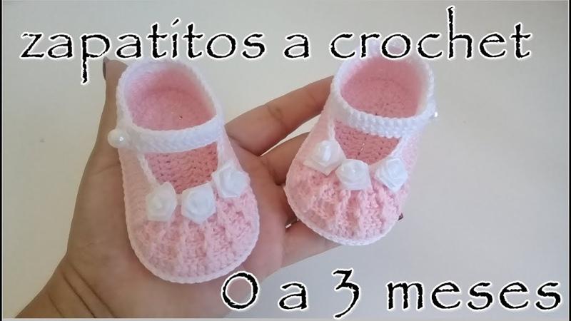 Zapatitos a crochet para bebé en relieve Modelo Rebecca 0 3 meses