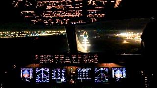 Perfect FEMALE PILOT Night Landing!! MD-11 Lufthansa Cockpit View!
