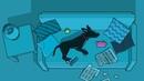 DOG RUNNING IN DREAM SOCIAL ISSUE ADVERTISING CARTOON PARODY. NIGHTMARE ON THE ELM STREET PARODY