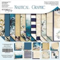 Набор двусторонней бумаги 20х20см от Scrapmir Nautical Graphic 11шт 190 р В наличии 1 шт
