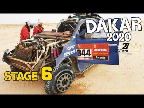 Dakar 2020 Stage 6 Ha'il Riyadh Hard Crash Truck smashes car and even stop