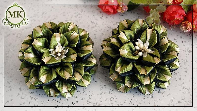 Цветы из узкой ленты шириной 1,2 и 0,6 см. МК. Канзаши. / DIY. Kanzashi. Ribbon flowers.