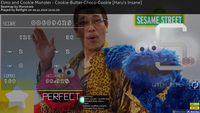 Elmo and Cookie Monster Cookie Butter Choco Cookie Haru's Insane HD DT FC смотреть онлайн без регистрации