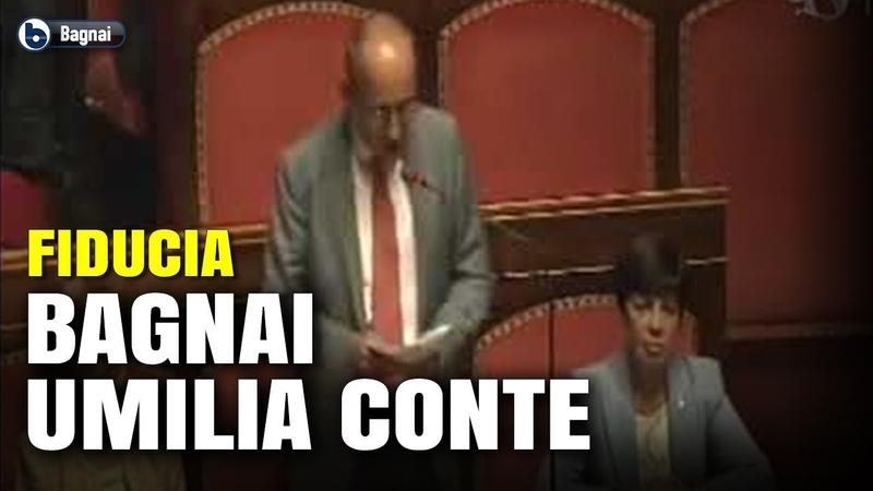 Alberto Bagnai contro Giuseppe Conte durante la fiducia al Senato.