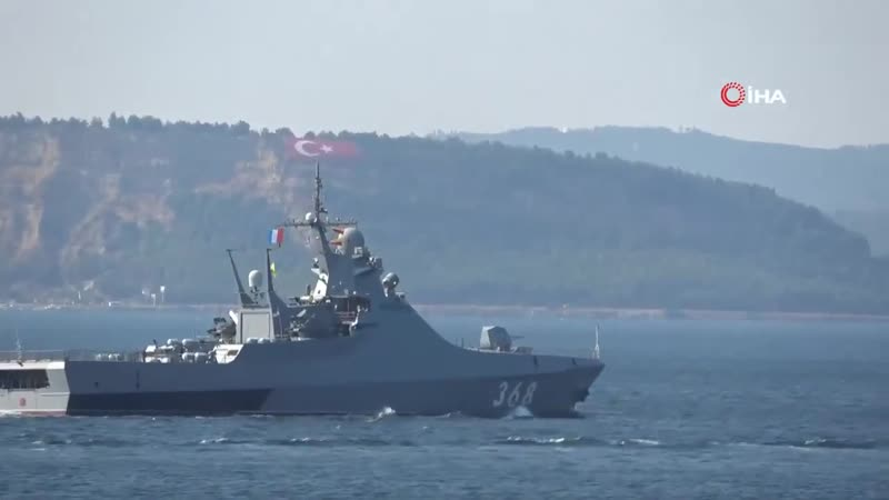Russian Navy RFS 368 Vasiliy Bykov a patrol ship transits Dardanelles towards the Marmara Sea 5th September 2019