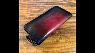 【Making】Round Zipper Wallet / Short video【Leather craft】