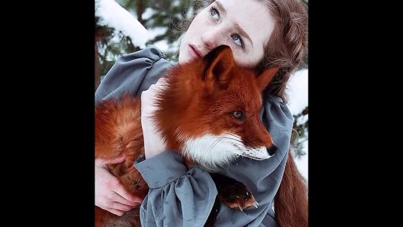 Сказочные портреты рыжеволосых девушек моделей с лисицей