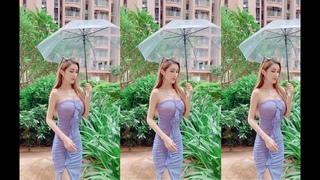 Asian busty beautiful girl with huge breasts is very soft