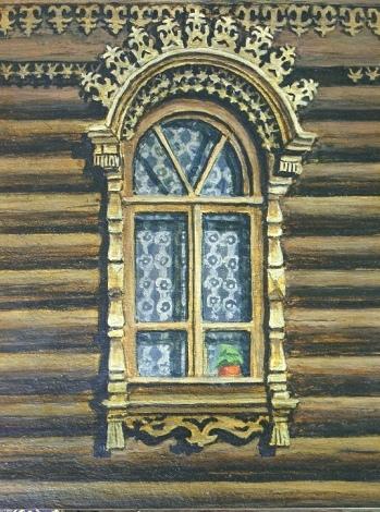 Наличник с арочным навершием Пороховая, 197 (не сохранился). Рисунок из книги Станислава Ошевского «Тула деревянная»