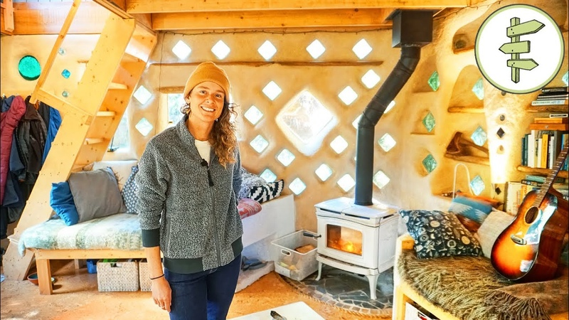 Woman's Magical Cob House Built with Earth Reclaimed Materials