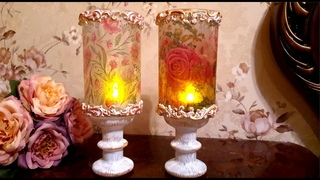 DIY/How to make💖 Romantic Candle Holders💗 / Decoupage on glas