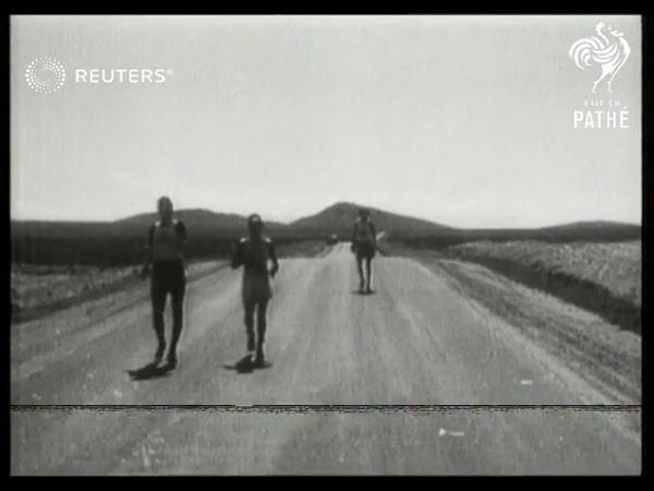 USA ATHLETICS Coast to Coast Marathon walkers crossing the Mojave desert 1928
