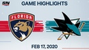 NHL Highlights | Panthers vs. Sharks – Feb. 17, 2020