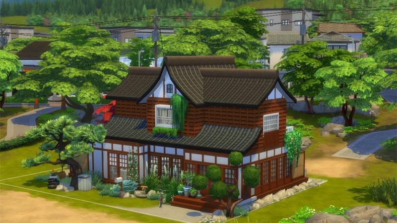 Sims 4 Строительство Японский семейный дом Снежные просторы
