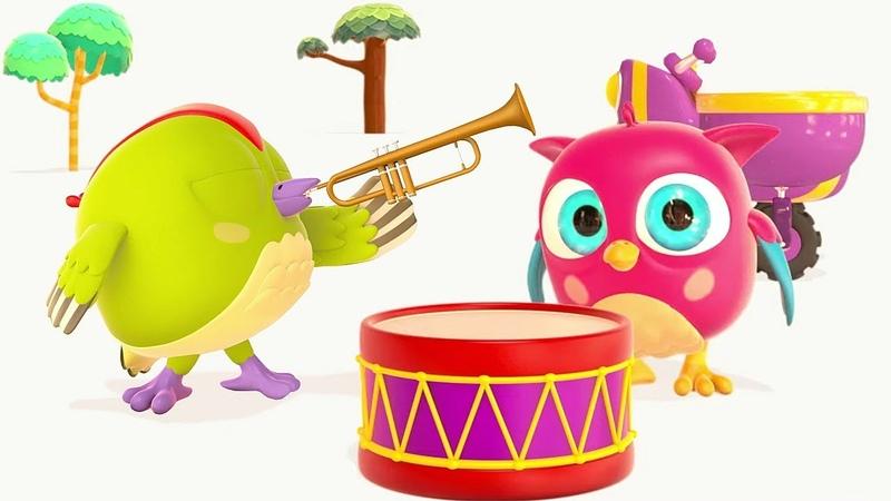 Lehrreicher Cartoon für kleine Kinder HopHop die Eule Musikinstrumente