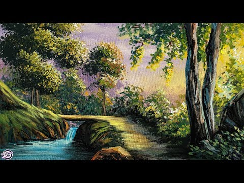 Free Lesson | How To Paint A Vibrant Sunlit Forest | Paintings By Art Candy