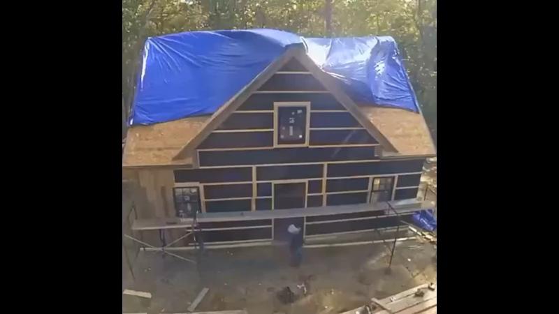 Строительство каркасного дома за 1 минуту.